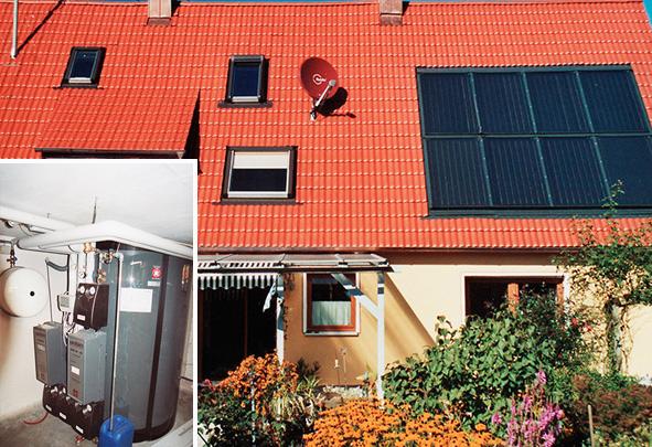 Einfamilienhaus in Lagerlechfeld, Kollektor: BUDERUS SKN 3.0 - Indach, Kollektorfläche: 19m², Speicher: OSKAR Schichtenspeicher, Speichervolumen: 1.850 Liter, Solardeckung: ca. 40 Prozent, Restheizung: Pelletskessel, Besonderheit: Der Schichtenspeicher wurde im Keller zusammengebaut,da Türbreite nur 80cm ist. Der Speicher wurde auf die maximal verfügbare Kellerdeckenhöhe eingepasst