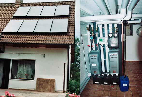 Einfamilienhaus in Königsbrunn, Kollektor: BUDERUS SKN 3.0, Kollektorfläche: 19m², Speicher: OSKAR Schichtenspeicher, Speichervolumen: 1.300 Liter, Solardeckung: ca. 35 Prozent, Restheizung: Gasbrennwertkessel, Besonderheit: Der Schichtenspeicher wurde im Keller zusammengebaut, da die Türbreite schmaler als der Speicherdurchmesser war.
