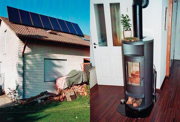 Einfamilienhaus in Untermeitingen, Kollektor: CITRIN CS 100F, Kollektorfläche: 17m², Speicher: OSKAR Schichtenspeicher, Speichervolumen: 1.000 Liter, Solardeckung: ca. 40 Prozent, Restheizung: Gasbrennwertkessel + Kaminofen, Besonderheit: Die Solaranlage ist auf ca. 60° Neigung aufgeständert. Der Kaminofen ist mit einer Wassertasche ausgeführt. Das Regelsystem gibt immer zuerst der Solaranlage Vorrang. Danach wird der Kaminofen bedient. Erst wenn die Solaranlage und der Kaminofen keine Energie mehr liefert, wird der Gaskessel zur Restwärmebereitung angefordert.