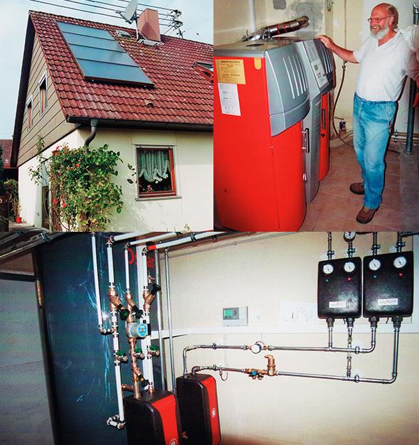 Einfamilienhaus in Anhausen, Kollektor: CITRIN CS 100F, Kollektorfläche: 17m² (2x 8,5m² je Dachseite), Speicher: OSKAR Schichtenspeicher, Speichervolumen: 1.000 Liter, Solardeckung: ca. 35 Prozent, Restheizung: Pelletskessel, Besonderheit: Die Solaranlage ist auf der West- und Ostseite angebracht. Durch eine spezielle Programmierung der Regelung kann jede Solaranlage separat oder auch gleichzeitig auf die Heizungsanlage kostenlose Energie liefern.