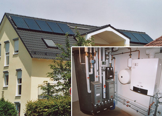 4-Familienhaus in Augsburg, Kollektor: BUDERUS SKS 4.0, Kollektorfläche: 22m², Speicher: OSKAR Schichtenspeicher, Speichervolumen: 1.300 Liter, Solardeckung: ca. 35 Prozent, Restheizung: Gasbrennwertkessel, Besonderheit: Für die Warmwasserbereitung dieses 4-Familien-Haus wird aus hygenischen Gründen mit einem Frischwassermodul mit 70kW Leistung aufbereitet.