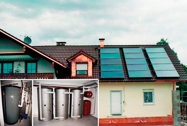 4-Familienhaus in Issing (Ammersee), Kollektor: Citrin Solar CS 100F, Kollektorfläche: 32m², Speicher: 1 OSKAR Schichtenspeicher mit 1.340 Litern, 3 Pufferspeicher mit 3.000 Litern, Speichervolumen: gesamt 4.340 Liter, Solardeckung: ca. 45 Prozent, Restheizung: Pelletskessel, Besonderheit: Diese Solaranlage wurde mit der doppelten Solarförderung (Innovationsbonus) gefördert. Der OSKAR Speicher fungiert als Führungsspeicher und verwaltet alle Wärmeströme. Bei Vollladung des OSKAR Speichers erfolgt die Auslagerung auf die 3 Pufferspeicher. Diese Wärme kann bei Bedarf wieder zurückgeladen werden.