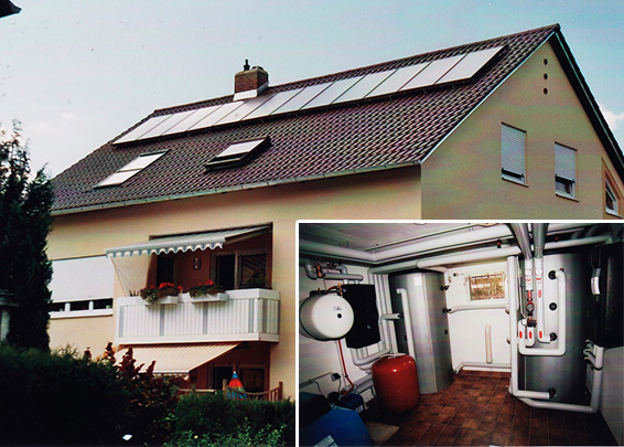 3-Familienhaus in Königsbrunn, Kollektor: CITRIN CS 100F, Kollektorfläche: 25m², Speicher: 2 Pufferspeicher in Reihenschaltung, Speichervolumen: 2.000 Liter, Solardeckung: ca. 35 Prozent, Restheizung: Ölbrennwertkessel, Besonderheit: Diese Solaranlage wurde mit der doppelten Solarförderung (Innovationsbonus) gefördert. Der Heizkreis wurde mit einer 2-stufigen Pufferentladung zur Erhöhung der Speicherausnutzung versehen. Das Ziel der Anlagenauslegung aus Ölbrennwert- und Solarheizung war eine Reduzierung des Ölverbrauchs auf die Hälfte von 6.000 Liter Öl.
