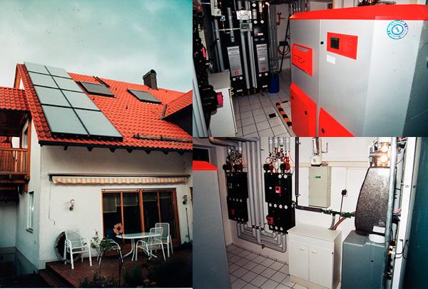 2-Familienhaus in Königsbrunn, Kollektor: BUDERUS SKS 4.0, Kollektorfläche: 20m², Speicher: OSKAR Schichtenspeicher, Speichervolumen: 1.340 Liter, Solardeckung: ca. 45 Prozent, Restheizung: Pelletskessel, Besonderheit: Es werden insgesamt 4 Heizkreise mit Wärme versorgt. Davon sind 2 Niedertemperatur- und 2 Hochtemperaturheizkreise. Der Rücklauf der Hochtemperaturkreise sofort dem Vorlauf der Niedertemperaturheizkreise zugeführt. Dies führt zu einer stärkeren Auskühlung des unteren Speicherbereichs und zu einem um ca. 9% höheren Solarertrag wie Standardanlagen.