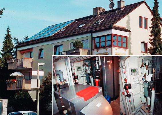 7-Familienhaus in Augsburg, Kollektor: Citrin Solar CS 100F, Kollektorfläche: 32m², Speicher: OSKAR Schichtenspeicher, Speichervolumen: 2.000 Liter, Solardeckung: ca. 30 Prozent, Restheizung: Ölbrennwertkessel, Besonderheit: Diese Solaranlage wurde mit der doppelten Solarförderung (Innovationsbonus) gefördert. Der OSKAR Speicher fungiert als Führungsspeicher und verwaltet alle Wärmeströme. Der Warmwasserbereitung erfolgt mittels legionellenfreier Frischwassertechnik.