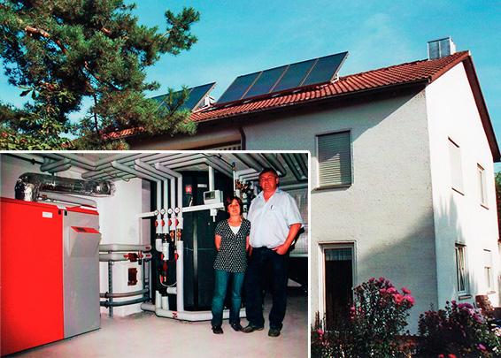 2-Familienhaus in Klosterlechfeld, Kollektor: Citrin Solar CS 100F, Kollektorfläche: 17m², Speicher: OSKAR Schichtenspeicher, Speichervolumen: 1.850 Liter, Solardeckung: ca. 40 Prozent, Restheizung: Pelletskessel, Besonderheit: Die Solaranlage ist auf ca. 60° Neigung aufgeständert. Der Speicher wurde auf Grund der niedrigen Kellerdeckenhöhe genau auf Mass gefertigt. Dadurch maximales Speichervolumen und somit höhere Solarausbeute möglich. Die Heizkörper wurden als Niedertemperatursystem mit max. 50°C ausgelegt.
