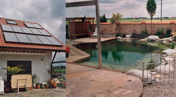 Privathaus mit Schwimmbad in Untermeitingen, Kollektor: CITRIN CS 100F, Kollektorfläche: 25m², Speicher: OSKAR Schichtenspeicher, Speichervolumen: 1.340 Liter, Solardeckung: ca. 35 Prozent, Restheizung: bestehender Gaskessel, Besonderheit: Die Solaranlage dient zur Heizungs- und Warmwasserunterstützung. Weiterhin wird der Schwimmteich rein mit kostenloser Solarenergie beheizt.