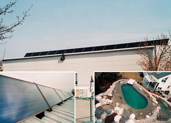 Gewerbegebäude mit Privathaus in Bobingen, Kollektor: Citrin Solar CS 100F, Kollektorfläche: 29m², Speicher: 1 OSKAR Schichtenspeicher mit 2.000 Litern und 1 Pufferspeicher mit 825 Litern, Speichervolumen: gesamt 2.825 Liter, Solardeckung: ca. 30 Prozent, Restheizung: bestehender Gasbrennwertkessel, Besonderheit: Diese Solaranlage wurde mit der doppelten Solarförderung (Innovationsbonus) gefördert. Der OSKAR Speicher fungiert als Führungsspeicher und verwaltet alle Wärmeströme. Im Sommer beheizt die Solaranlage den Schwimmteich mit 140.000 Liter.