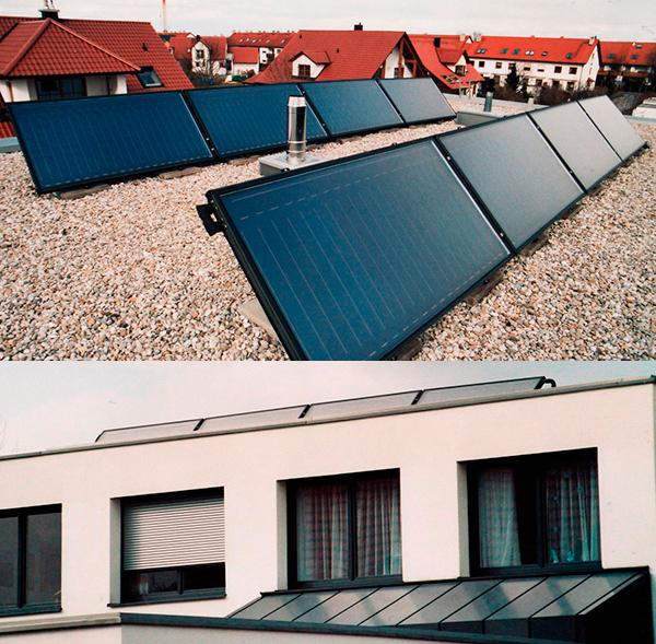 Einfamilienhaus in Bobingen, Kollektor: BUDERUS SKS 4.0 - Flachdachständer, Kollektorfläche: 20m², Speicher: OSKAR Schichtenspeicher, Speichervolumen: 1.300 Liter, Solardeckung: ca. 35 Prozent, Restheizung: Gasbrennwertkessel Besonderheit: Das gewerbliche Büro im Keller muss auch im Sommer geheizt werden. Diese Warmwasserbedarf für 6 Personen und die Heizungsunterstützung wird durch die solargeführte Regelung überwacht.