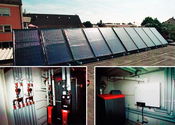 Gewerbegebäude mit 2 Wohnungen in Bobingen, Kollektor: BUDERUS SKS 4.0, Kollektorfläche: 25m², Speicher: 1 OSKAR Schichtenspeicher mit 2.000 Litern und 1 Pufferspeicher mit 1.000 Litern, Speichervolumen: gesamt 3.000 Liter, Solardeckung: ca. 30 Prozent, Restheizung: Stückholzkessel + Gasbrennwertkessel, Besonderheit: Diese Solaranlage wurde mit der doppelten Solarförderung (Innovationsbonus) gefördert. Der OSKAR Speicher fungiert als Führungsspeicher und verwaltet alle Wärmeströme. Der Holzkessel wird als Hauptwärmeerzeuger eingesetzt. Bei Nichtanwesenheit oder Krankheit wird der Gaskessel als Back-Up eingesetzt.