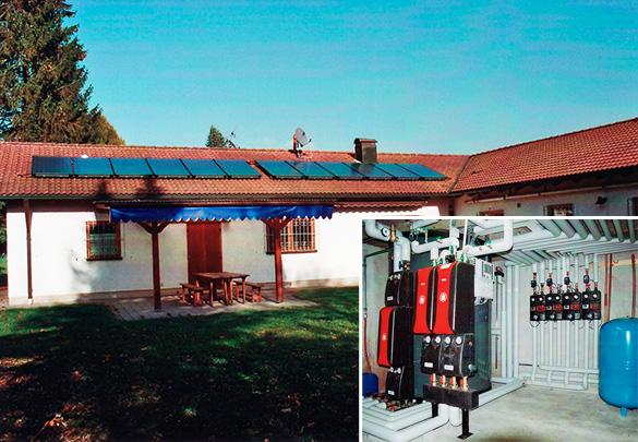 Sportanlage mit 18 Duschen in Bobingen, Kollektor: BUDERUS SKN 3.0, Kollektorfläche: 29m², Speicher: OSKAR Schichtenspeicher, Speichervolumen: 2.000 Liter, Solardeckung: ca. 29 Prozent, Restheizung: Gasbrennwertkessel, Besonderheit: Für die Warmwasserbereitung wurde eine Frischwasserkaskade mit 140kW Leistung zur legionellenfreien Duschwassererwärmung eingesetzt. Planung und Ausführung der Systemsteuerung mit 2 Hauptreglern für 5 Heizkreise, 2 Frischwasserstationen als Kaskadenausführung, Gasbrennwertkessel und Solarstation mit Energieerfassung.