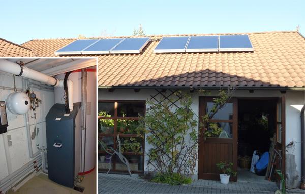 Einfamilienhaus in Königsbrunn, Kollektor: SOLVIS Cala - Aufdachmontage, Kollektorfläche: 16m², Speicher: SolvisMax Solarheizkessel, Speichervolumen: 1.000 Liter, Energieverbrauch vorher: 32.000 kWh Gas, Energieverbrauch nachher: 16.900 kWh Gas, Energieeinsparung: 47 Prozent, Restheizung: integrierter Gasbrennwertkessel, Besonderheit: Der Gasbrenner ist im Speicher platziert, dadurch im laufenden Betrieb immer Brennwertnutzen. Das Solarheizsystem ist mit einer solaren Start-Stopp-Regelung für den Gasbrenner ausgestattet.