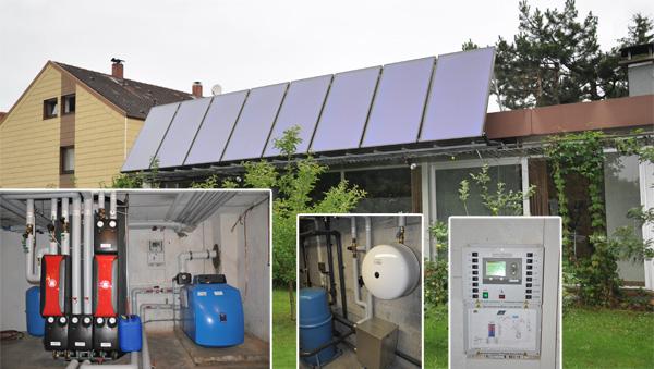 Einfamilienhaus in Königsbrunn, Kollektor: CITRIN CS 500F, Kollektorfläche: 21m², Speicher: OSKAR Schichtenspeicher, Speichervolumen: 750 Liter, Solardeckung: ca. 40 Prozent, Restheizung: Ölbrennwertkessel, Besonderheit: Die Solaranlage ist auch für die Schwimmbadwassererwärmung ausgelegt und unterstützt zusätzlich die Heizung- und Warmwasserbereitung.