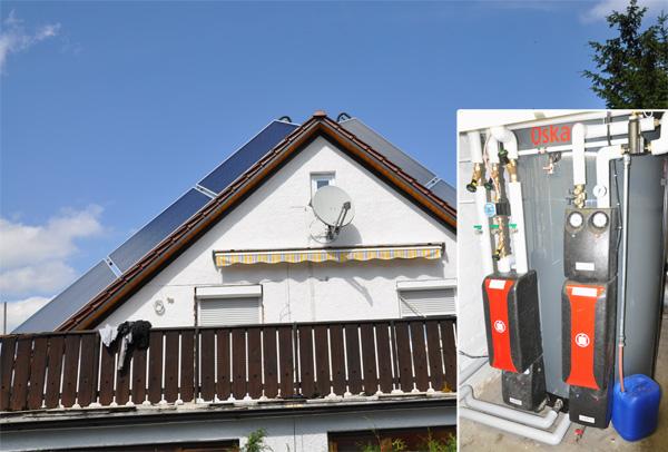 Einfamilienhaus in Augsburg, Kollektor: Wagner L 20 Antireflexglas, Kollektorfläche: 16m², Speicher: OSKAR Schichtenspeicher, Speichervolumen: 1.340 Liter, Solardeckung: ca. 35-40 Prozent, Restheizung: bestehender Gasbrennwertkessel, Besonderheit: Die Solaranlage wurde auf der Ost- und Westseite des Daches ideal nach Süden ausgerichtet. Die Ausständerung hat einen Neigungswinkel von 50°, um die Wintersonne optimal nutzen kann. Der Schichtenspeicher wurde im Keller aus 4 Einzelteilen zusammengeschweisst, da die Kellertüre nur 72cm breit ist.