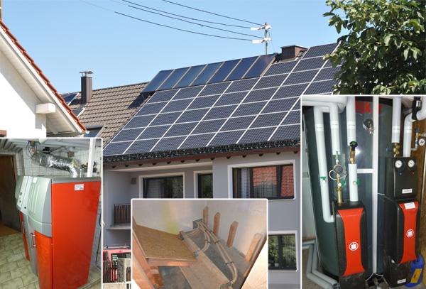 Zweifamilienhaus in Untermeitingen, Kollektor: CITRIN Flachkollektor, Kollektorfläche: 15m², Speicher: OSKAR Schichtenspeicher, Speichervolumen: 1.340 Liter, Solardeckung: ca. 35 Prozent, Restheizung: Pelletskessel, Besonderheit: Das Regelsystem gibt immer zuerst der Solaranlage Vorrang. Danach wird der Pelletskessel bedient. Erst wenn die Solaranlage keine Energie mehr liefert, wird der Pelletskessel zur Restwärmebereitung angefordert.
