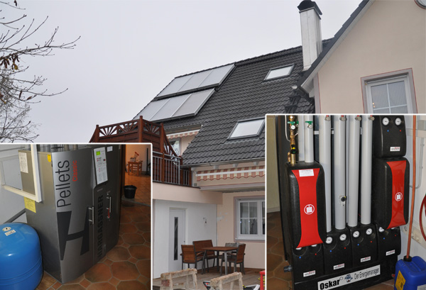 Zweifamilienhaus in Graben, Kollektor: WAGNER Flachkollektor, Kollektorfläche: 16m², Speicher: OSKAR Schichtenspeicher, Speichervolumen: 1.000 Liter, Solardeckung: ca. 35 Prozent, Restheizung: Pelletskessel, Besonderheit: Das Regelsystem gibt immer zuerst der Solaranlage Vorrang. Danach wird der Pelletskessel bedient. Erst wenn die Solaranlage keine Energie mehr liefert, wird der Pelletskessel zur Restwärmebereitung angefordert.