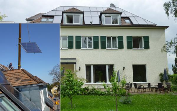 Hotelanlage mit 26 Zimmern in Augsburg, Kollektor: S.S.T Solartechnik, Kollektorfläche: 46m², Speicher: 1 OSKAR Schichtenspeicher mit 2.000 Ltr., 2 Pufferspeicher mit 1.200 Ltr., Speichervolumen: gesamt 3.200 Liter, Solardeckung: ca. 33 Prozent, Restheizung: bestehender Ölkessel, Besonderheit: Diese Solaranlage wurde mit 30 Prozent der Investionskosten gefördert. Die Kollektoren wurde auf Mass in der gewünschten Form und Größe gefertigt. Die Montage der Solaranlage wurde in einem Tag erledigt.