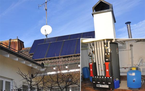 Einfamilienhaus in Leitershofen, Kollektor: CITRIN Flachkollektor, Kollektorfläche: 19m² auf 55° aufgeständert, Speicher: OSKAR Schichtenspeicher, Speichervolumen: 1340 Liter, Energieeinsparung: ca. 40 Prozent (vorher: 8.500 Liter/a), Restheizung: Ölbrennwertkessel, Besonderheit: Das Regelsystem gibt immer zuerst der Solaranlage Vorrang. Danach wird der Ölbrennwertkessel bedient. Erst wenn die Solaranlage keine Energie mehr liefert, wird der Ölbrennwertkessel zur Restwärmebereitung angefordert.