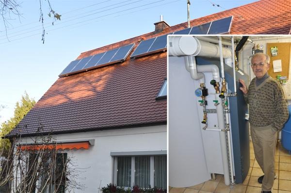 Einfamilienhaus in Großaitingen, Kollektor: SOLVIS FERA - Grossflächenkollektor, Kollektorfläche: 15m², Speicher: SolvisMax Solarheizkessel, Speichervolumen: 750 Liter, Energieverbrauch vorher: 35.000 kWh Öl, Energieverbrauch nachher: 21.800 kWh Öl, Energieeinsparung: 40 Prozent, Restheizung: integrierter Ölbrennwertkessel, Besonderheit: Der Ölbrenner ist im Speicher platziert, dadurch im laufenden Betrieb immer Brennwertnutzen. Das Solarheizsystem ist mit einer solaren Start-Stopp-Regelung für den Ölbrenner ausgestattet. Der Ölbrenner ist mit 2 Leistungsstufen mit 14kW und 23kW ausgestattet.